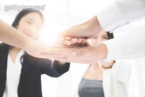 Business team working togetherness collaboration, businessman and businesswoman teamwork concept