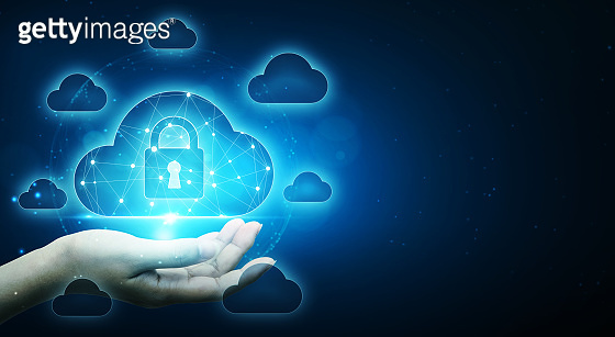 Cloud computing and technology network connection concept. Businessman hand holding cloud server protect data device