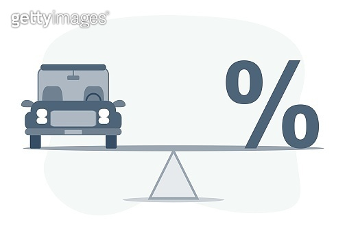 Balance Between Percentage Symbol And Car On Seesaw