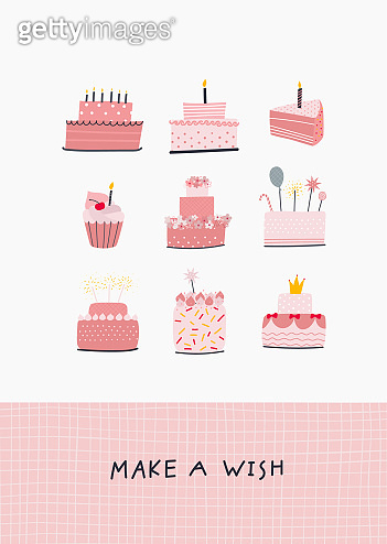 Make a wish birthday illustration lettering card