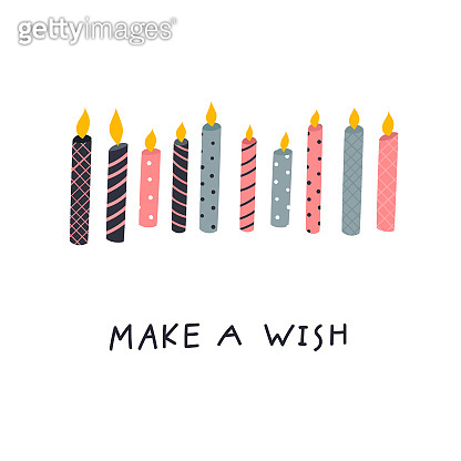 Make a wish candles illustration lettering card
