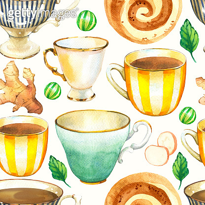 Seamless background. Tea party pattern on white. Watercolor illustration of funny cups. Decorative elements with traditional hot drinks for your packing design. Multicolor decor.