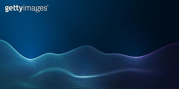 Futuristic abstract wave science, technology banner with glowing line grid