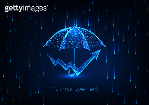 Futuristic risk management concept with glowing low polygonal umbrella and chart arrow