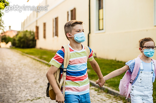Children are going to school with face masks