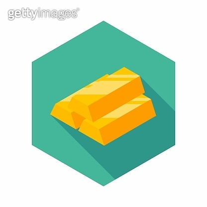 Gold Bar icon vector isometric.