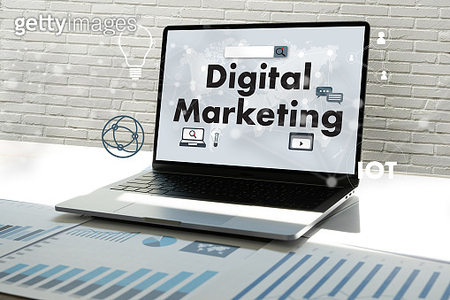 DIGITAL MARKETING new startup project work analysing and advertisement man brainstorming to seo brand