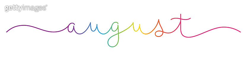 AUGUST colorful monoline calligraphy banner