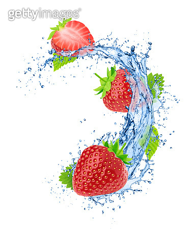 Strawberry with leaves in water splashes isolated on white background.