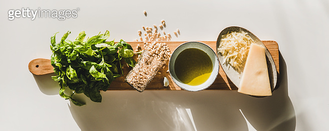 Basil, olive oil, Parmesan cheese and pine nuts for pesto