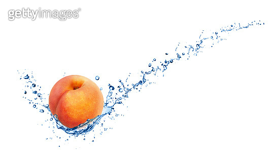 Whole peach in water splash with full depth of field isolated on white background.
