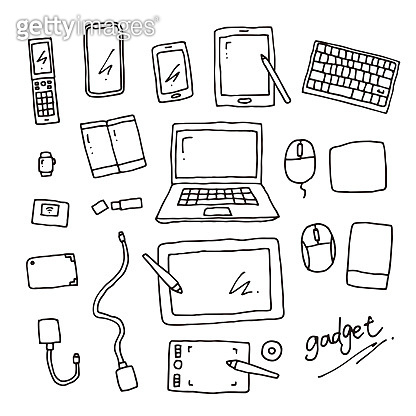 Hand drawn gadget line drawing vector illustration