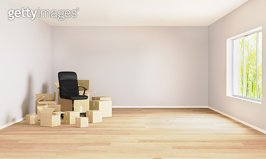 Empty room with moving boxes and office chair. Moving concept. Room for mockup. 3d rendering. Room with light walls and wooden floor