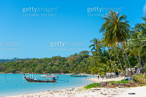 Tropical beach landscape. Perfect white sand, green palm trees and blue water. Travel and relaxation in the tropics