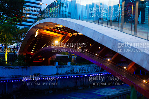 Bridge over the river canal in kuala lumpur. Architecture of modern cities.