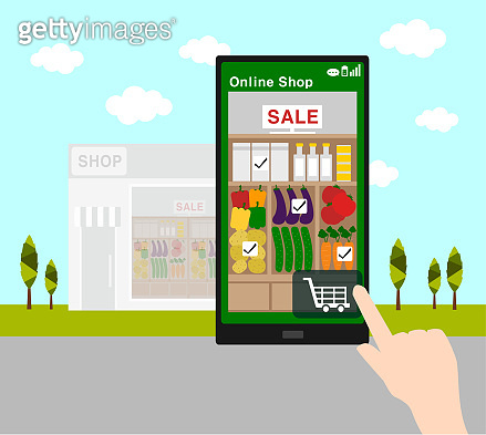 online shopping with smart phone and  supermarket