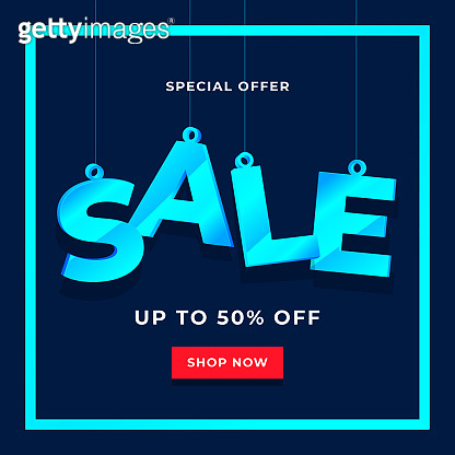 Special offer sale banner template on blue background.