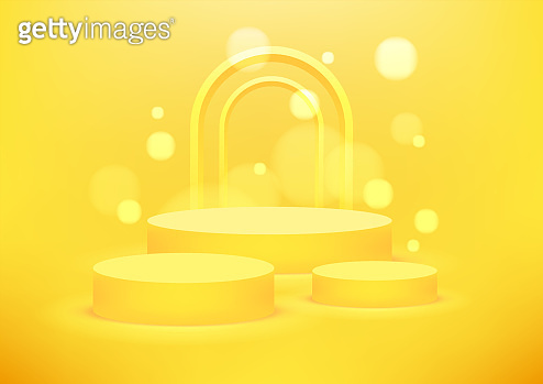 Empty podium studio yellow background for product display with copy space. Showroom shoot render. Banner background for advertise product.