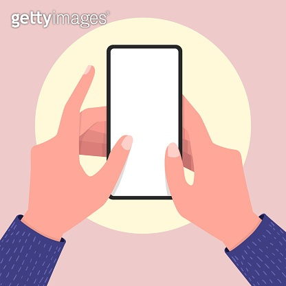 Holding empty screen mobile phone in two hands. Editable smartphone template.