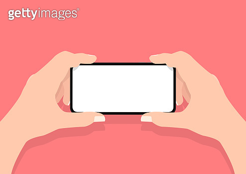 Man two hands holding mobile smart phone with blank screen.