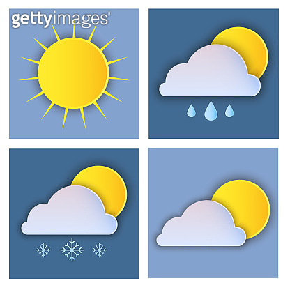 Weather icon set in paper style on dark blue bacground.