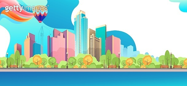 City landscape horizontal day vector banner