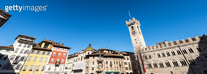 Piazza del Duomo - Cathedral square in Trento downtown Italy