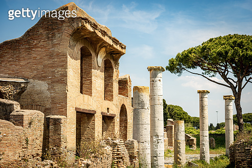 Ancient Roman buildings in Ostia Antica Archaeological Site - Rome Italy