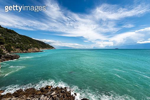 Coastline and Mediterranean Sea in the Gulf of La Spezia - Liguria Italy