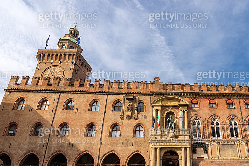 Accursio palace and Accursi Tower - Ancient Bologna city hall Italy