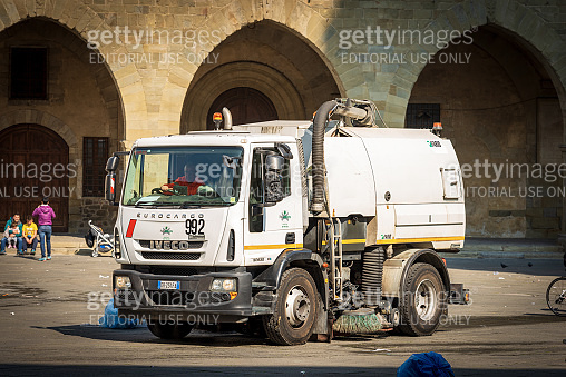 Street Sweeper Machine at work - Pistoia downtown Italy
