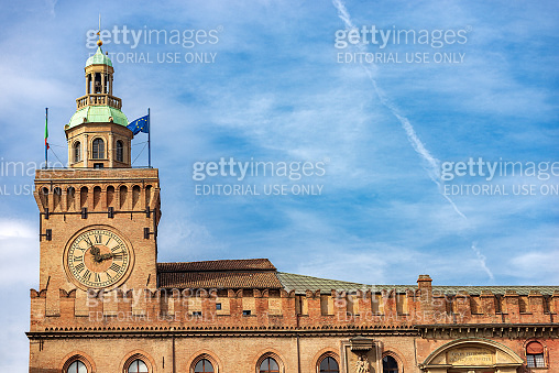 Accursi Tower and Accursio Palace - Town hall in Bologna Italy