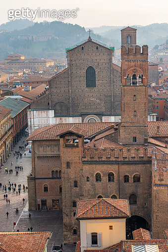 Basilica of San Petronio and Cityscape of Bologna Italy