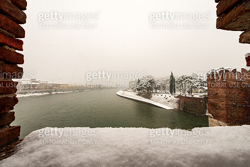 Adige river in winter from the Scaligero bridge of Castelvecchio - Verona Italy