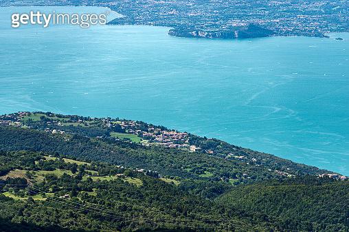 Aerial view of the Lake Garda from the Monte Baldo - Italian Alps