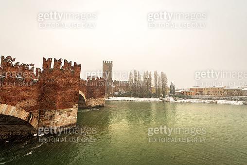 Castelvecchio and Ponte Scaligero - River Adige Verona Italy