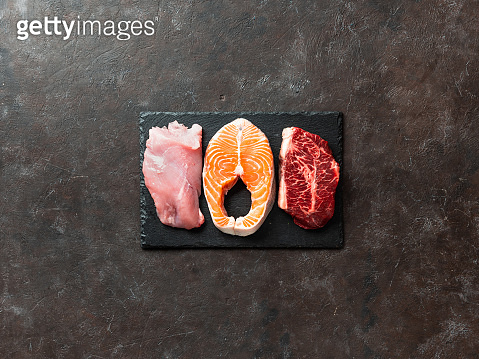 Raw turkey breast fillet, salmon and ribeye