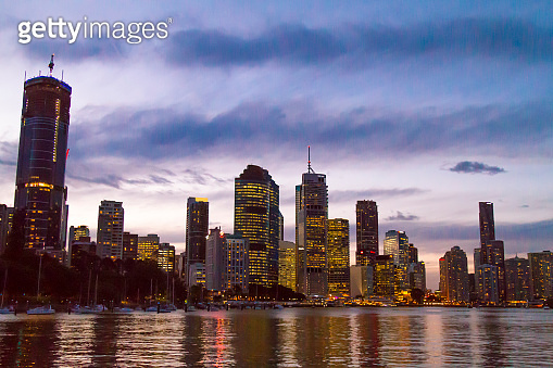 Brisbane Skyline Panorama with a beautiful sunset, Queensland, Australia