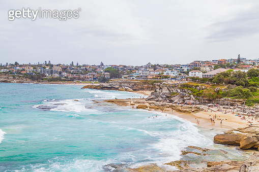 Landscape view of Tamarama and Bondi beach in Sydney
