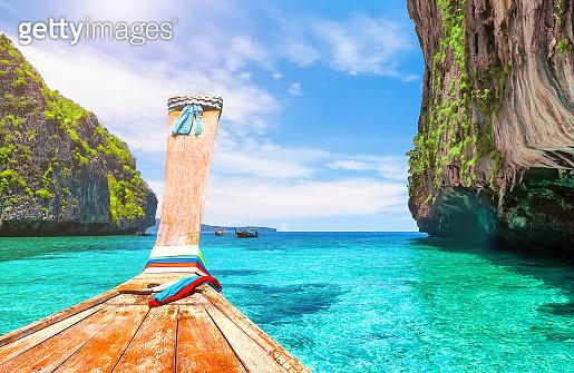 View of Loh Samah Bay in Phi Phi island, Thailand.