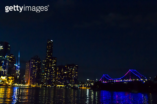 View of Brisbane and Story Bridge at night, Queensland, Australia