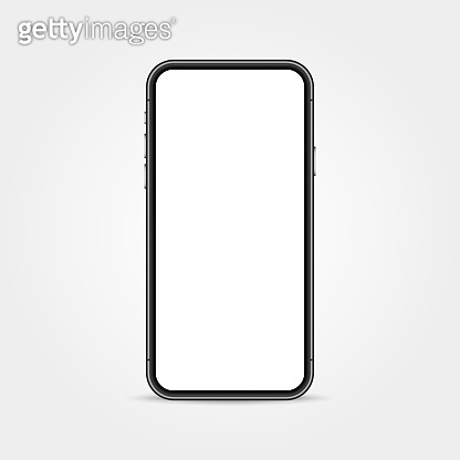 Realistic phone mockup. Smart device isolated on white backdrop. Cellphone with empty display. Modern smartphone template. Telephone concept. Vector illustration.
