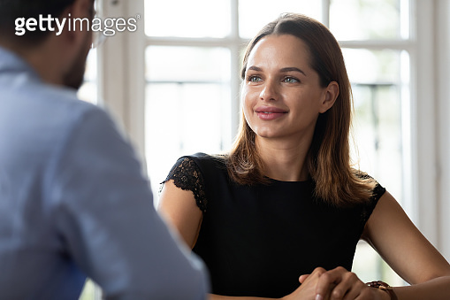 Caucasian businesswoman and businessman business meeting in office
