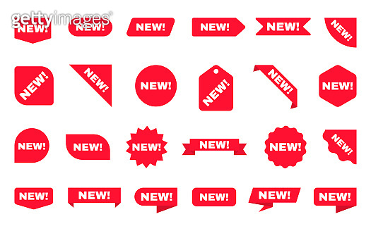 New sticker collection. Sale ribbons set. Red discount labels on white backdrop. Shopping tags. New arrival template with red posters or icons. New product. Vector illustration