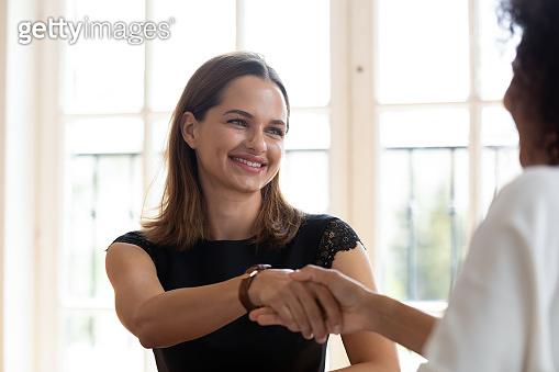 Diverse women broker and customer shake hand at business meeting
