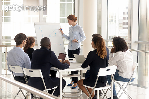 Young female employee with flip chart at presentation.