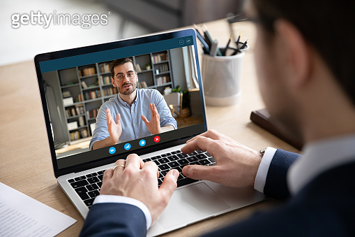 Businessman talk with business partners using video call