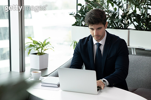 Male employee sit at desk working on laptop