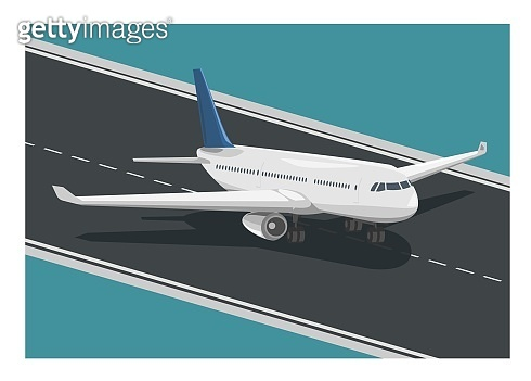 Airplane running on the runway. Simple flat illustration
