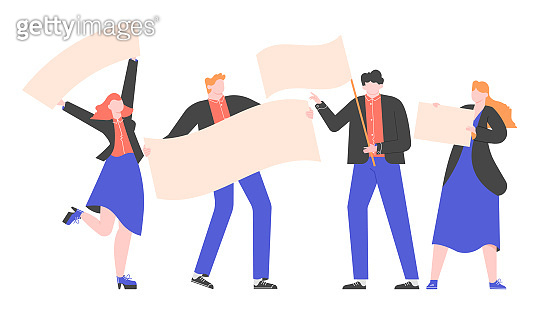Group of people in business suits with flags and posters. Demonstration, protest or presentation of a product. Advertising and announcement. Vector flat illustration.